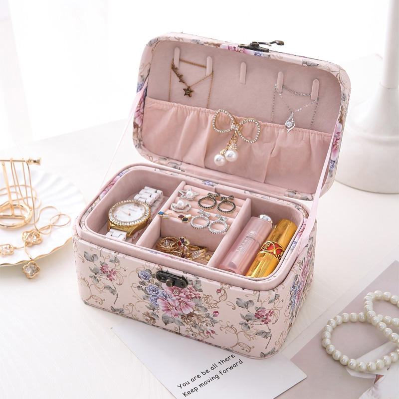Leather Jewelry Storage Box Travel Double Layer Large Jewelry Organizer Earrings Ring Creative Printing Necklaces Cosmetic Boxes