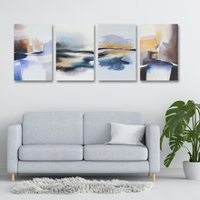 Nordic Abstract Golden Fluid Landscape Canvas Painting Mountain Posters And Print Home Wall Art Pictures For Living Room Decor