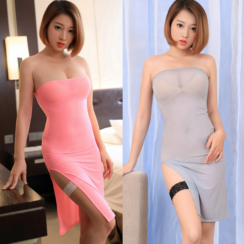 Erotic Dress Transparent Strapless Tube Top Dress Ultra Thin Ice Silk High Side Split Nightclub Dress Not Including Neck Ring
