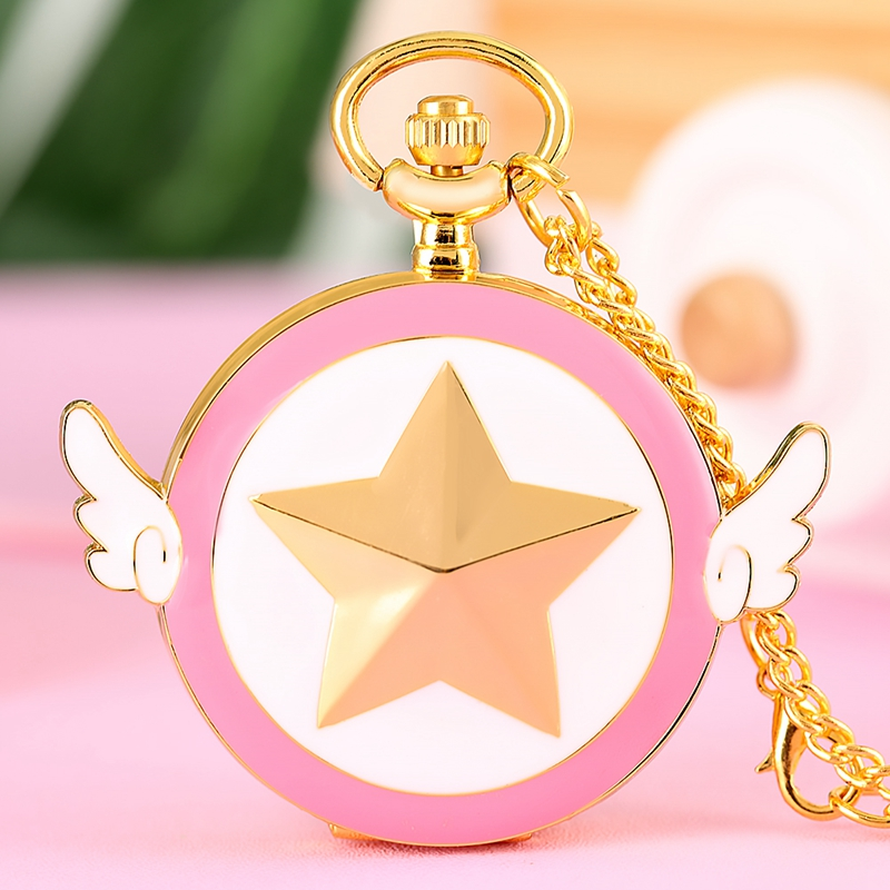 Luxury Golden Japanese Anime Sailor Moon Quartz Pocket Watch Five-pointed Star Wings Necklace Pendant Chain Gift For Women Girls