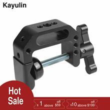 Kayulin مشبك دعم سطح المكتب من الألومنيوم ، مشبك C عالمي ، بخيط 1/4 بوصة و 3/8 بوصة ، أسود