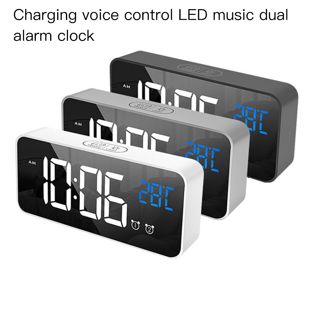 Home Bedroom Living Room Rechargeable Bedside Music Clock LED Mirror Alarm Clock Sound Activated Clock