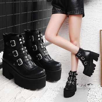 2019 Combat Boots for Women Platforms Block High Heel Punk Shoes Gothic Rivet Buckle Ankle Military Boots Big Size 34-45 red ankle boots studded rivets military boots designer shoes women luxury 2018 short combat cowboy boots womens buckle strap