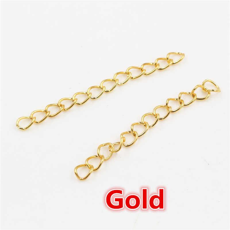 50 sztuk/partia 50mm 70mm 5x4mm naszyjnik łańcuch przedłużający luzem bransoletka rozszerzone łańcuchy ogon Extender dla DIY komponenty do wyrobu biżuterii