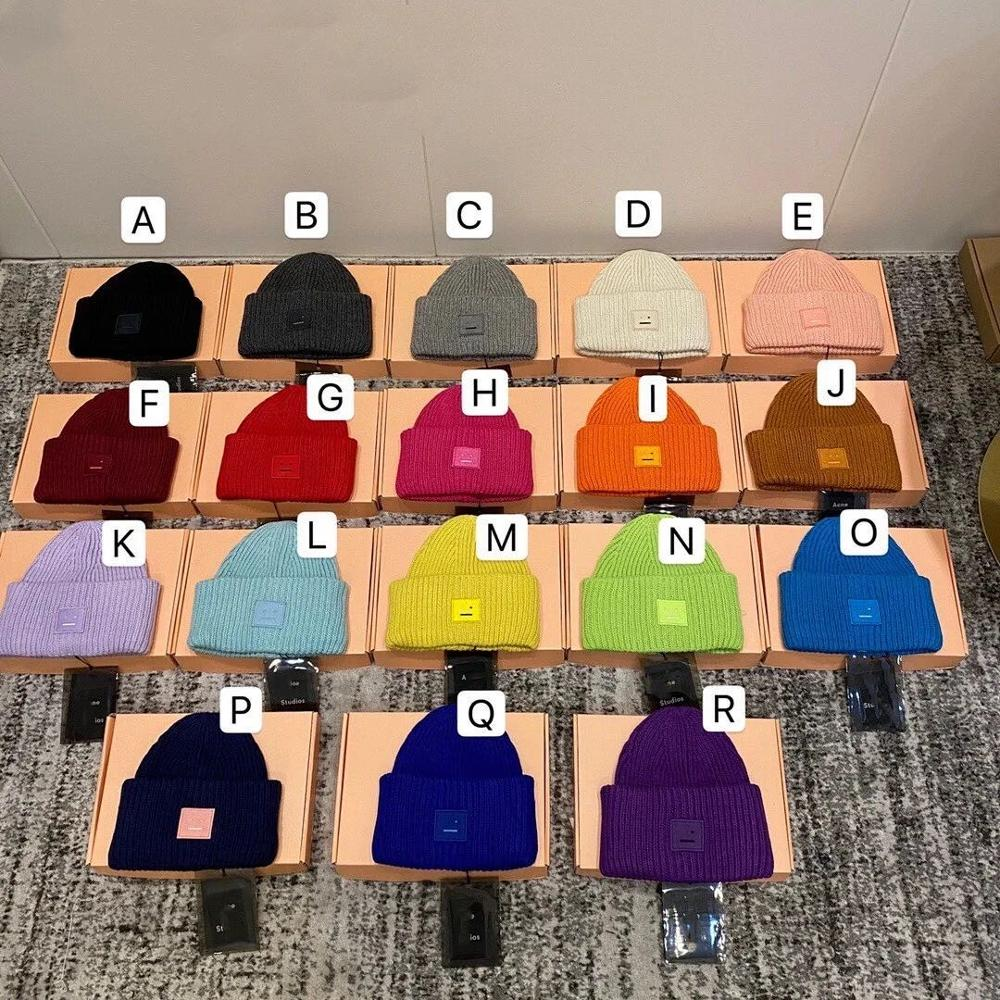 AC Studios Smiling face Beanie Skull Caps knitted Cashmere Eye Warm Couple Lovers Acne Hats Tide Street Hip hop Wool Cap Adult
