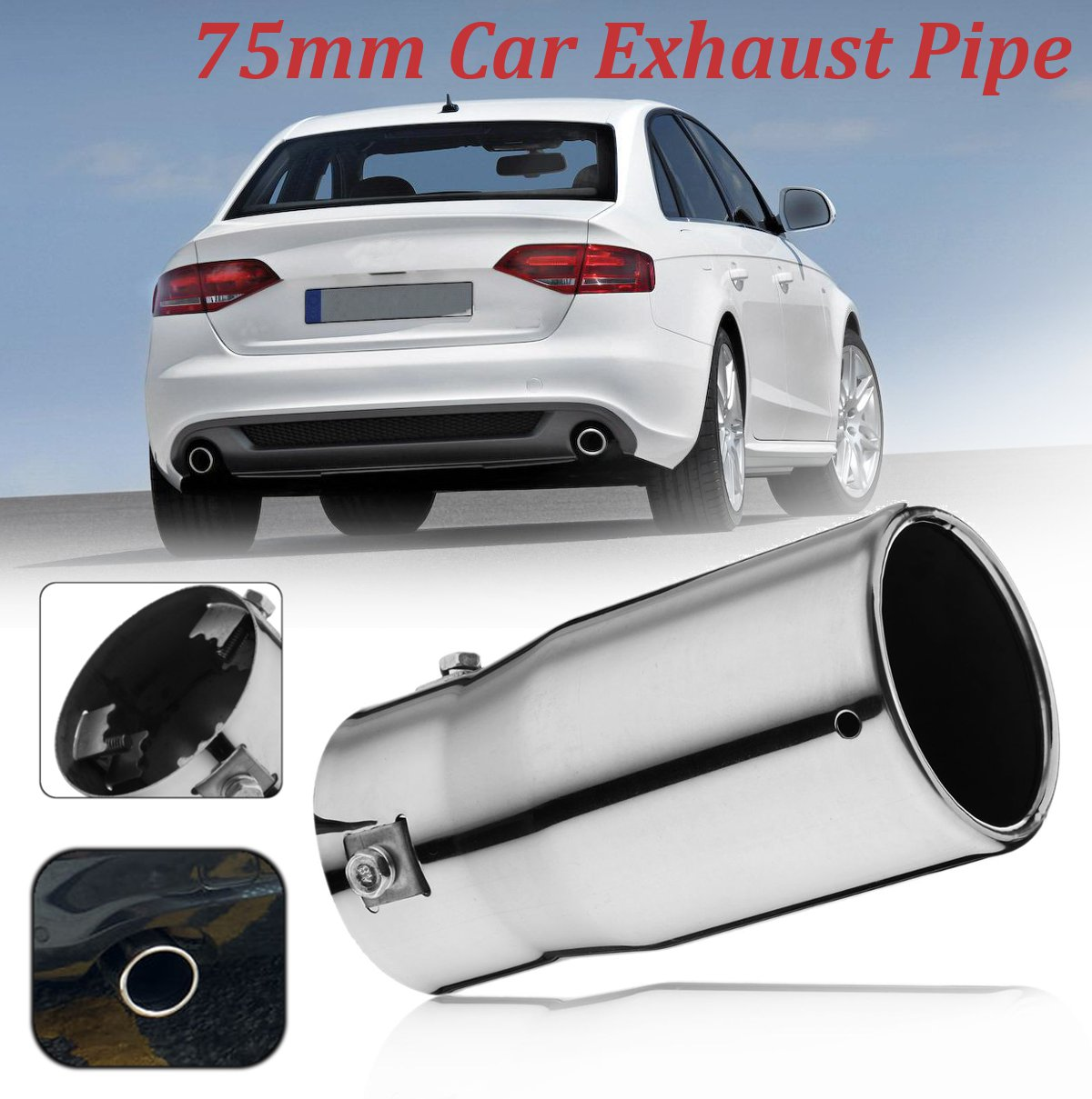 Car Chrome 75mm Outlet Straight Tail Exhaust Pipe Rear Muffler Tip End Trim Oval Universal Car Rear Tail Throat Liner Accessorie|Exhaust Manifolds| |  -