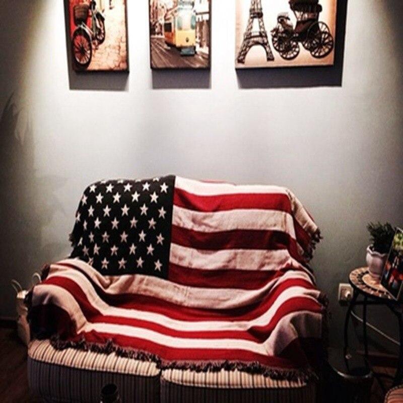 American Flag Blankets Sofa Decora Retro Art Red Yarn Crochet Blanket Bedroom Living Room Large Carpet Eagle Blanket Bed Cover