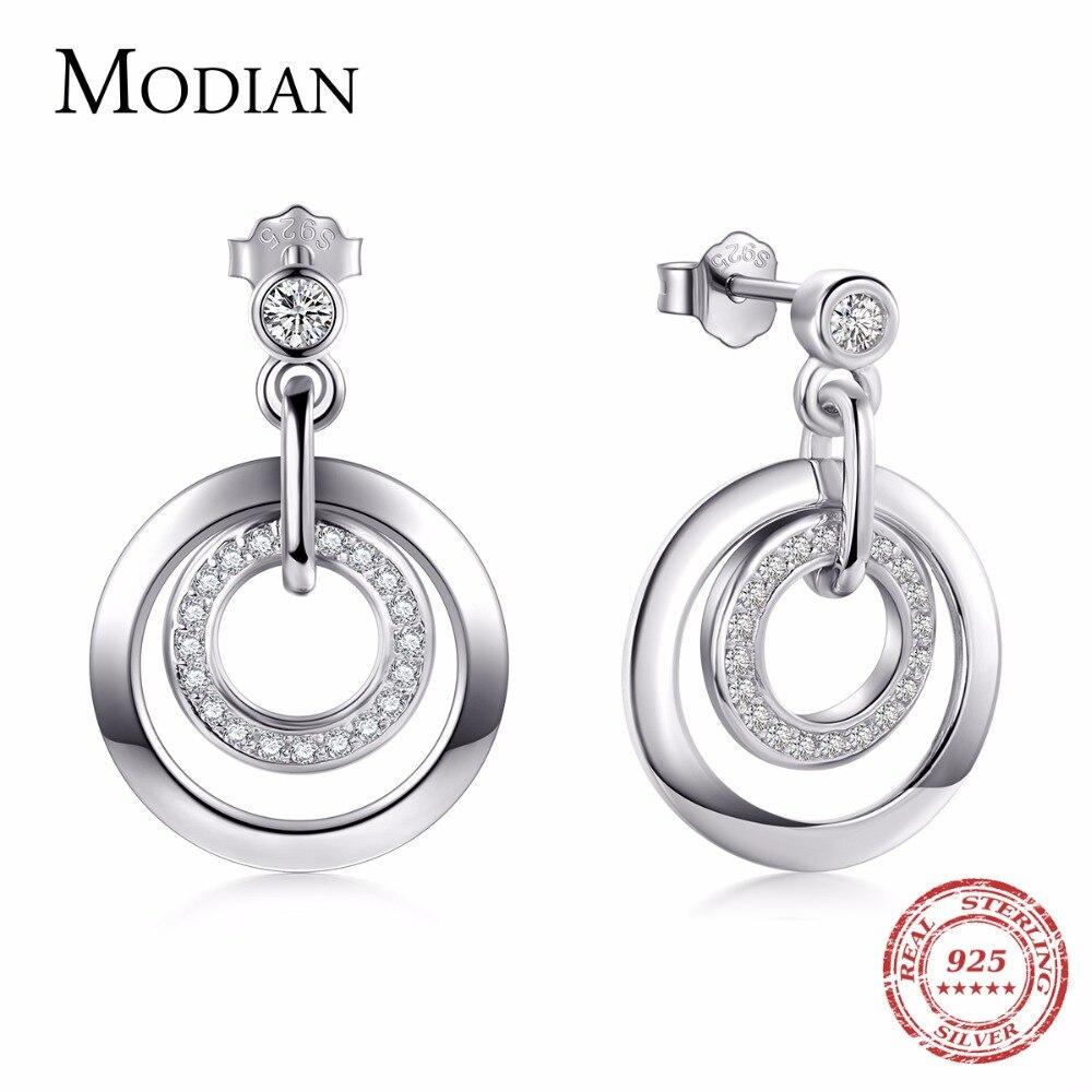 Modian 2019 Heißer Verkauf Echt 925 Sterling Silber Klassische Kreis Stud Ohrringe Klar Cz Luxus Schmuck Für Frauen Weihnachten Geschenk