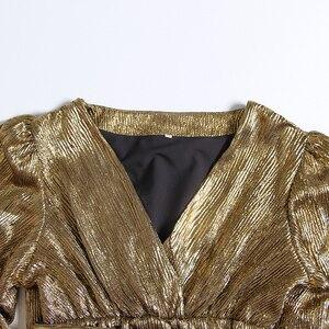 Image 5 - TWOTWINSTYLE Patchworkชุดเลื่อมสำหรับผู้หญิงโคมไฟแขนเสื้อVคอสูงเอวเซ็กซี่Party Dressesหญิงแฟชั่นฤดูใบไม้ร่วง 2020 ใหม่