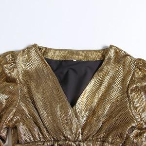 Image 5 - TWOTWINSTYLE Patchwork Vestito di Paillette Per Le Donne Del Manicotto Della Lanterna Con Scollo A V A Vita Alta Vestiti Da Partito Sexy Femminile di Modo di Autunno 2020 Nuovo