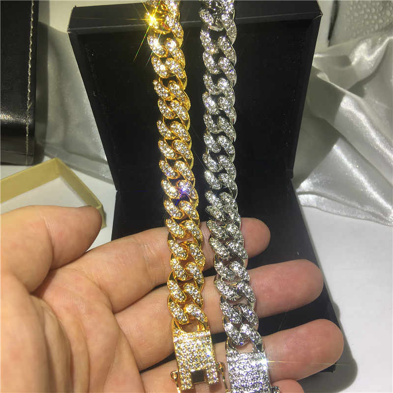 Vecalon cuban Hiphop Bracelet Pave Crystal Cz White Yellow gold filled iced out Bracelets for women men Rock Party Jewelry