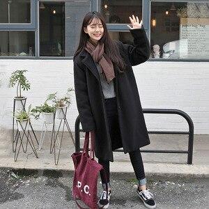 Image 3 - Mieszanki wełny kobiety wysokiej jakości ciepłe eleganckie Ulzzang cały mecz jesień zima modne koreański styl moda damska odzież Chic