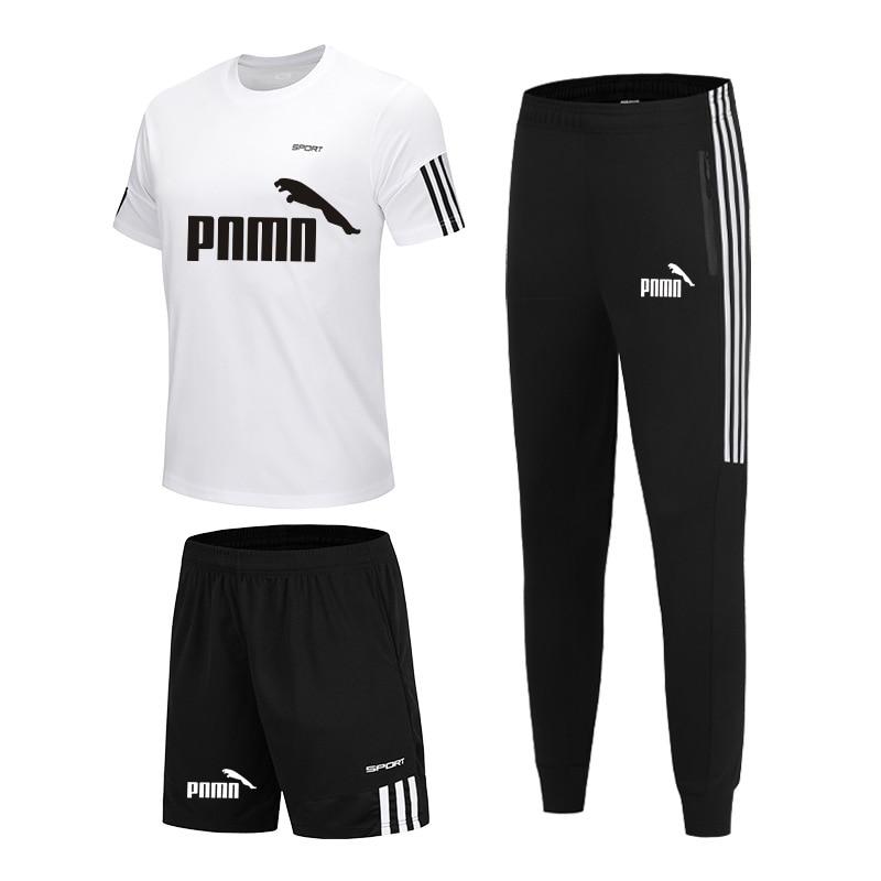 3 Pieces / Set Sports T-shirt Men's Suit Casual Sports Shorts + Jogging Pants Men's Sportswear Suit Football Suit Gym Suit New