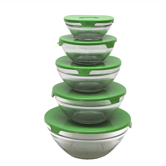 Manufacturers Direct Selling Home Kitchen Supplies Advertisement Promotional Gift With Lid Five-Piece Set Glass Bowl