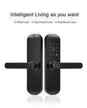 Смарт замок дверной биометрический со сканером отпечатков пальцев