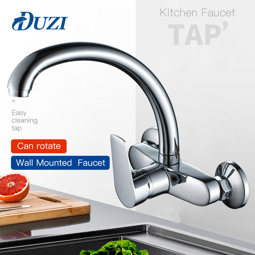 Wall Mount Single Handle Kitchen Faucet 360 Rotation Swivel Double Hole Cold And Hot Water Mixer Tap For Kitchen Sink Faucet