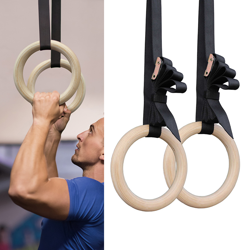 Vertvie Professional Wood Gymnastic Rings 28/32mm Gym Rings With Adjustable Long Buckles Straps Workout Home Gym Fitness