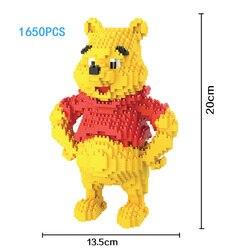 Engraçado imagem dos desenhos animados Winnie urso de diamante micro building block 1650pcs bricks assemblage modelo NANO brinquedos coleção para presentes