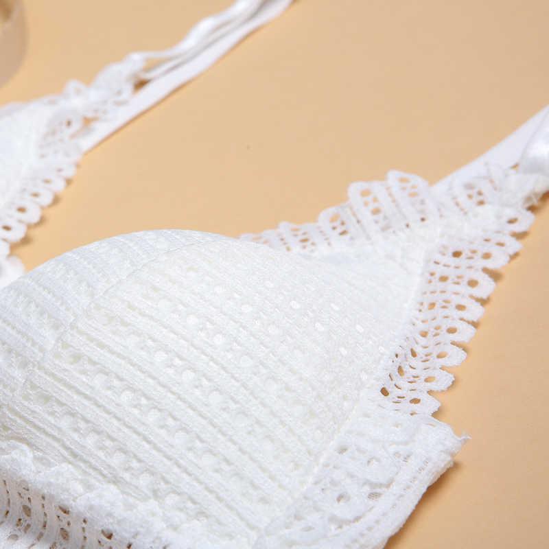 DERUILADY seksi dantel kablosuz ön kapatma sütyen kadınlar için seksi iç çamaşırı konfor Push Up sütyen ayarlanabilir artı boyutu Backless Bralette