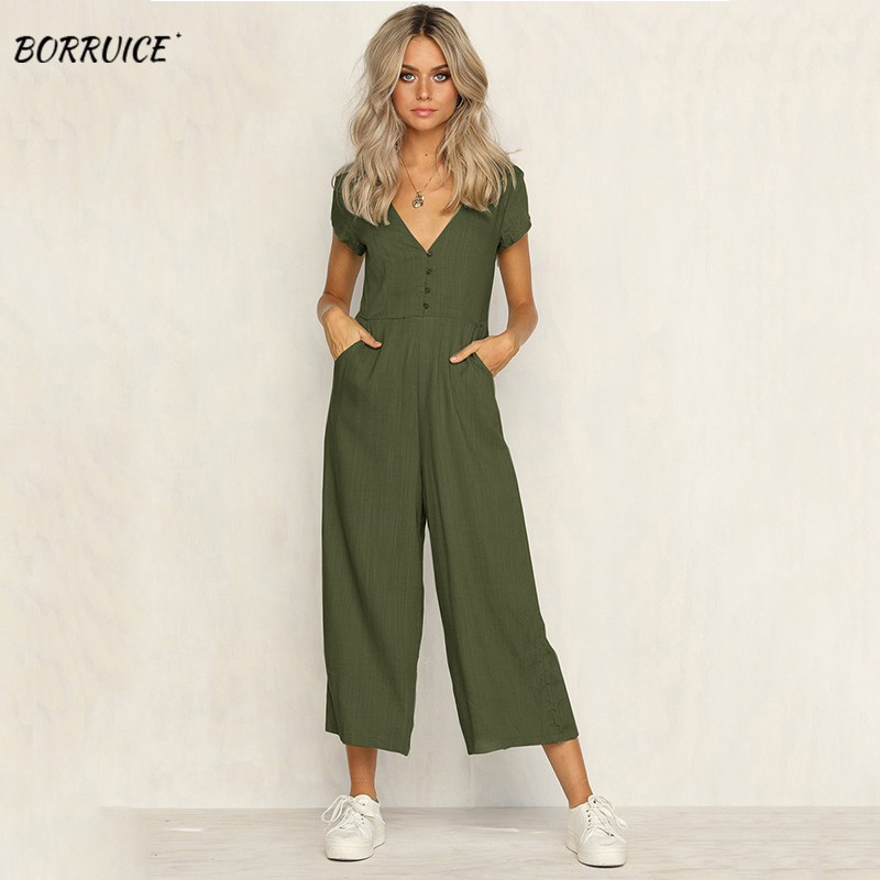 Summer Aashion V-neck Button Jumpsuit Casual Plain Short-sleeved Women's Long Jumpsuit Ladies Waist And Wide-leg Pants Workwear