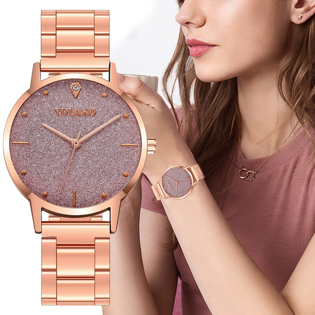 Rose Gold Women Watches Scrub Starry Sky Clock Dial Ladies Quartz Wristwatch High Quality Alloy Strap Business Montre Femme@50