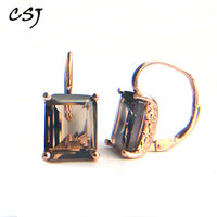CSJ Smoky quartz gemstone Earring Sterling 925 Silver octagon 9*11mm 8Ct Fine Jewelry For Women Lady or mother Party Gift Box