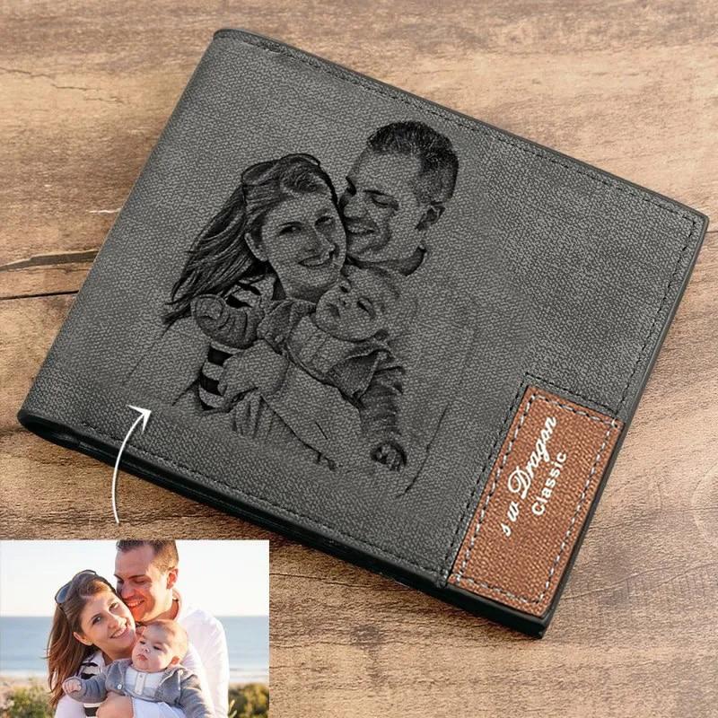 Men's Bifold Custom Inscription Photo Engraved Wallet Short Wallets Purse Custom Postcard Wallet