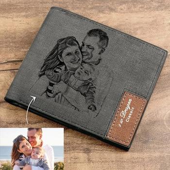 цена на Men's Engraving Custom Inscription Photo Engraved Wallet Short wallet purse Custom postcard wallets engraved leather wallets