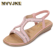 MVVJKELow sandals woman leather woman shoe big size round to