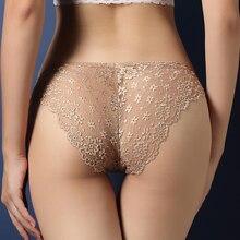BABEICUI seksi suda çözünür dantel iç çamaşırı kadın Traceless iç çamaşırı düşük Rise kalça kaldırma şeffaf külot kadın iç çamaşırı