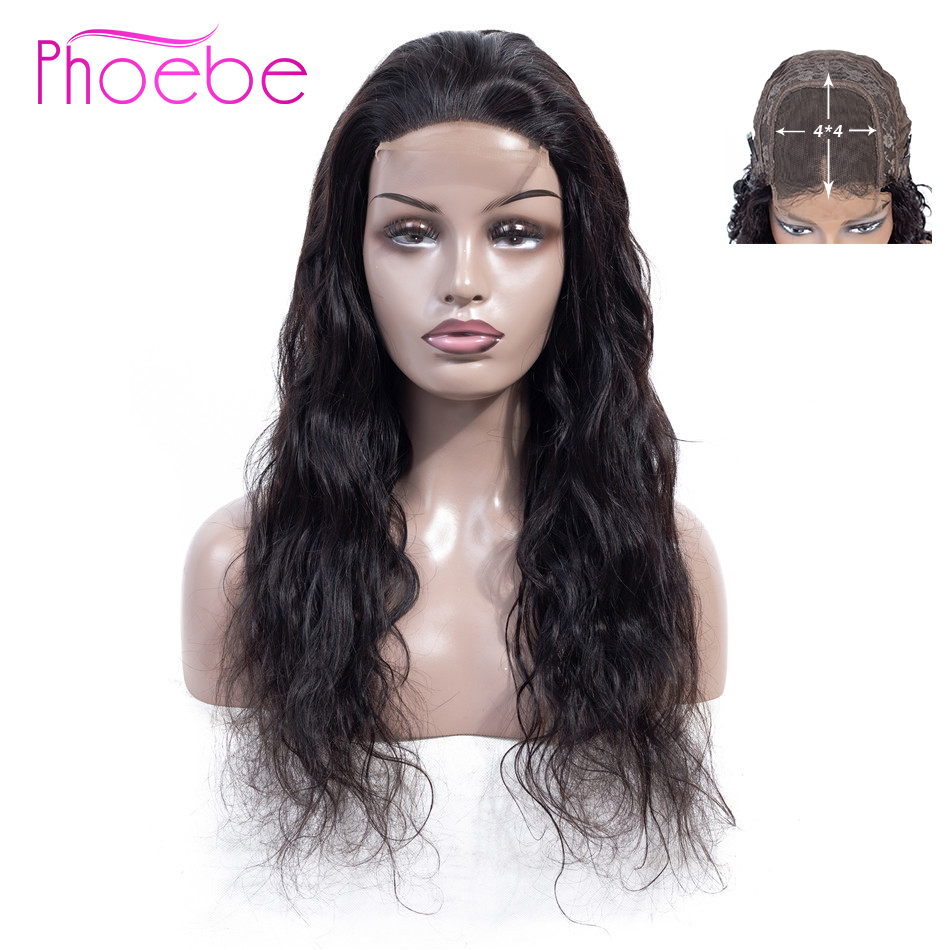 Phoebe Brazilian Body Wave 4*4 Lace Closure Human Hair Wigs With Baby Hair Lace Closure Wig For Black Women Non-Remy 130%Density
