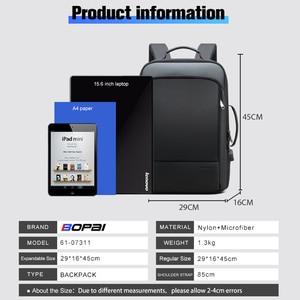 Image 4 - BOPAI 2020 Backpack Men Enlarge Anti Theft Business Bagpack for 15.6 Inch Laptop Black Back Pack School Backpacking
