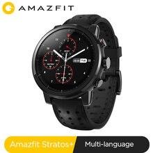 Globale Version Amazfit Stratos + Smart Uhr 5ATM Wasser Beständig Lederband Geschenk Box Sapphire GPS GLONASS Smartwatch für IOS