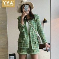 Fashion Women Plaid Tweed Jacket Shorts Two Piece Set Office Ladies Slim Fit Suits Outfit Shorts+Jacket Autumn Matching Sets
