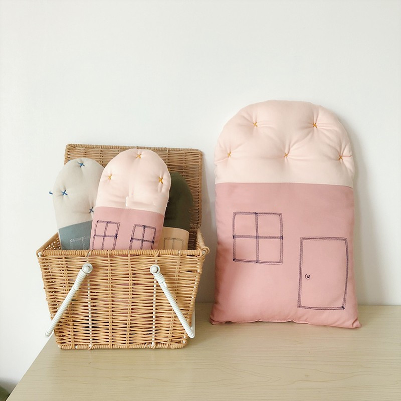 New Baby Pillow Cotton Cartoon Small House Newborn Pillow Cushion Toys Kids Bedding Children Room Decor Baby Photography Props