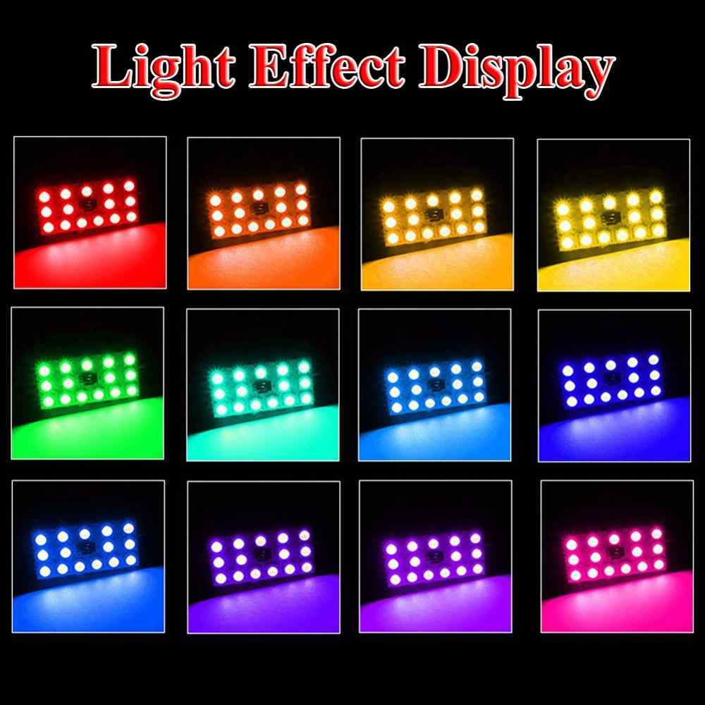 Uzaktan kumanda ile RGB T10 31 / 41MM 12SMD-5050 atmosfer lamba renkli araba çatı kubbe okuma ledi ampul