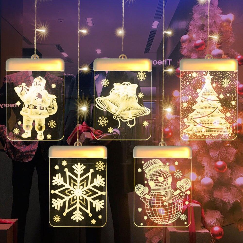 Рождество вечерние бар декоративный Новинка Висячие 3D Красочный светодиодный фея лампы на солнечных батареях для внутреннего Windows теплый б...