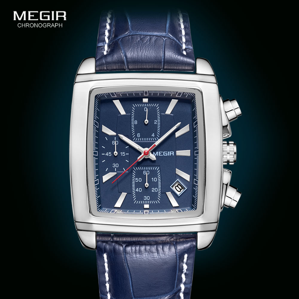 Megir Rectangle Dial Leather Strap Watch for Men Casual Blue chronograph quartz watches Man Wristwatch montre reloj часы мужские 5