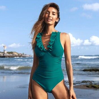 Monokini verde azulado cuello pico con volantes playa 4