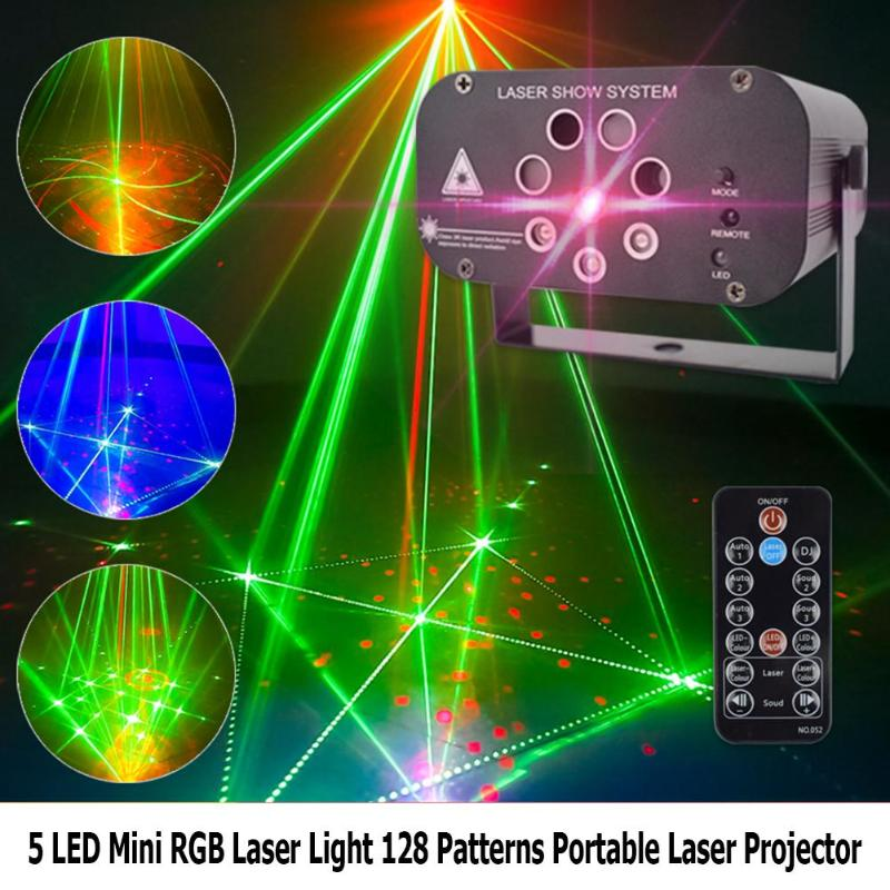 Mini RGB Laser Light 128 Patterns Portable Laser Projector Stage Disco DJ Club Bar KTV Family Party Light Show Christmas Decor