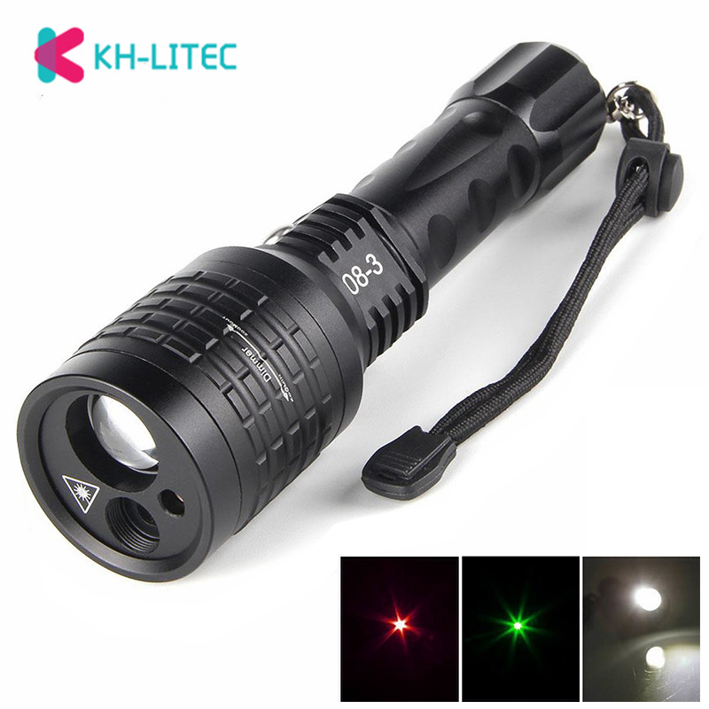 2 In 1 Led Flashlight With Red Green Laser Pointer Lazer Light Search LED Light 1800 Lumen Led FlashLight Lamps For Hunting Fish
