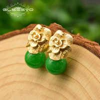 GLSEEVO 925 en argent Sterling broche d'oreille naturel rond Jade boucles d'oreilles pour les femmes plante feuilles mariage boucles d'oreilles bijoux GE0336B