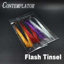 цены CONTEMPLATOR 10Colors Holographic Tinsel Streamers Fly Tying Materials 4bags Shinning Flash Tinsel Nymph Fly Fishing Lures