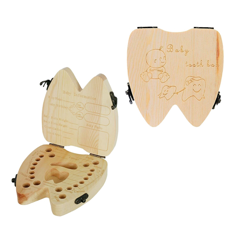 English Language Child Wood Teeth Storage Box Save Milk Teeth Collecting Teeth Umbilical Cord Lanugo Organizer Wood Box