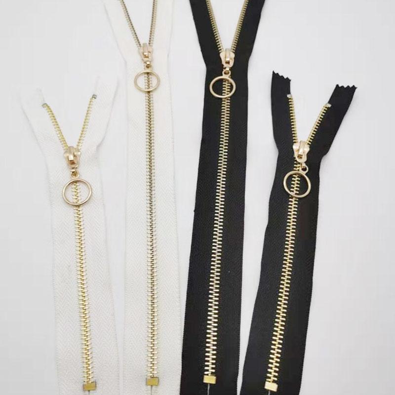 Close-End 1Pcs White Black Gold Metal Zipper For Sewing Zip Garment Accessories Crafts Bags Jeans Zippers DIY Tools Zipper