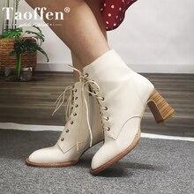 TAOFFEN 2020 Women Ankle Boots Women Thick Heel Zipper Winter Shoes Woman Fashion Party Shoes Footwear Size 34-43