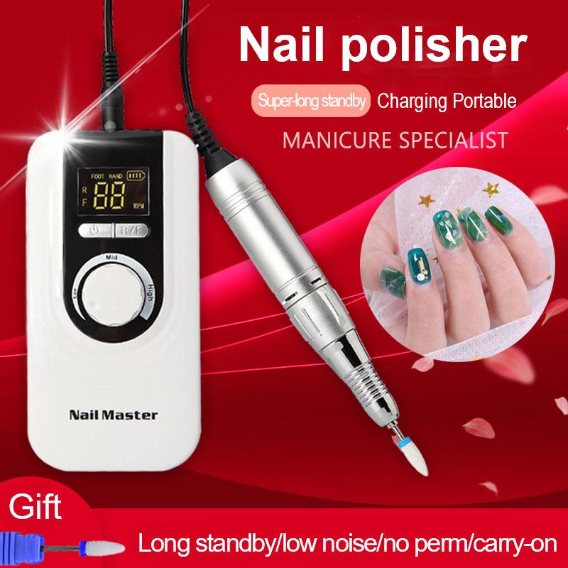 Портативная электрическая дрель для ногтей с ЖК дисплеем 35000 об/мин, пилочка для ногтей, набор для маникюра, педикюра, оборудование для ногте...