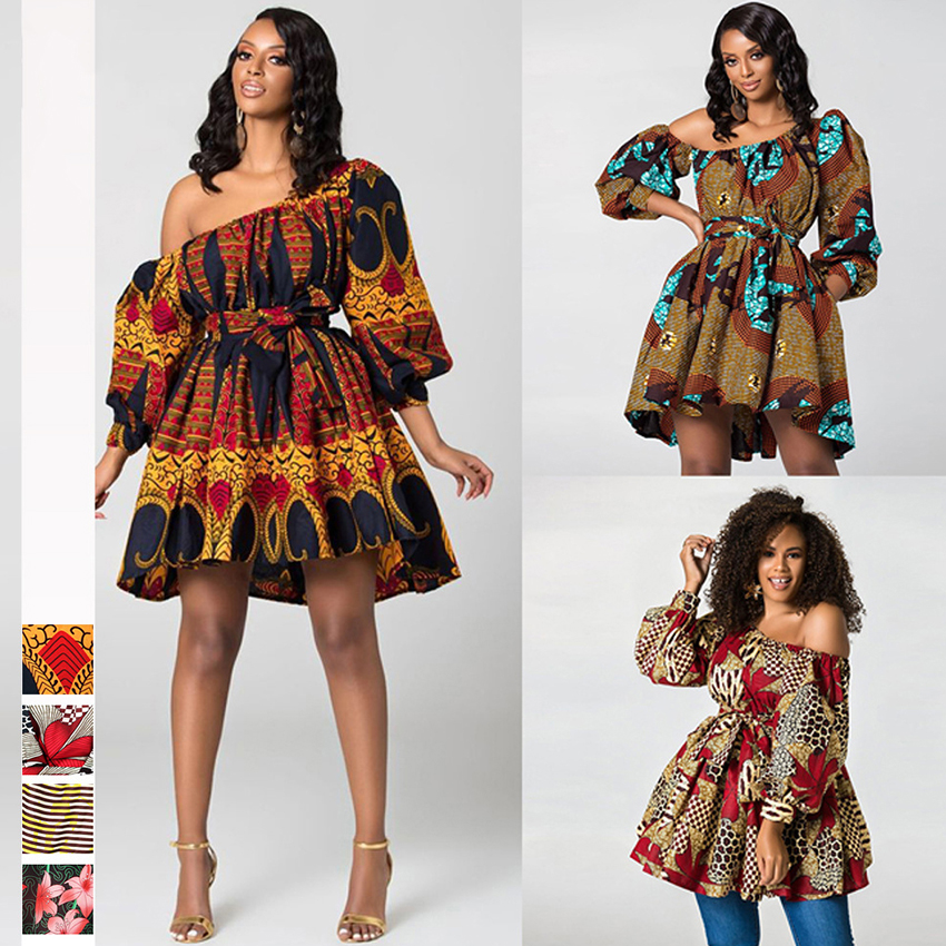 Free Shipping Shoulder Off 2020 <font><b>News</b></font> African Dresses for Women Bohemian Print Elastic Clothes Sexy Dashiki Style Clothing image