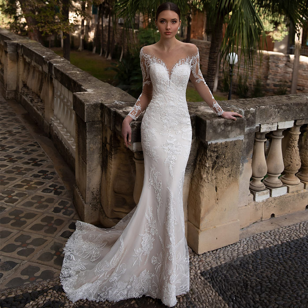 2021 New Arrival Illusion O Neck Full Sleeves Skirt Mermaid Backless Wedding Dresses Appliqued Crystal Lace White Bridal Gowns 1