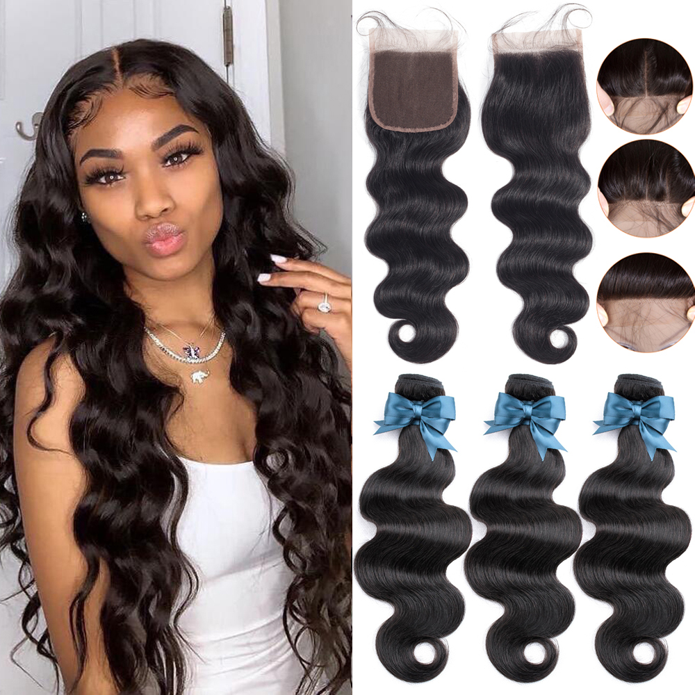 BEAUDIVA 10A Brazilian Hair Body Wave 3 Bundles With Closure Human Hair Bundles With Lace Closure Remy Human Hair Extension